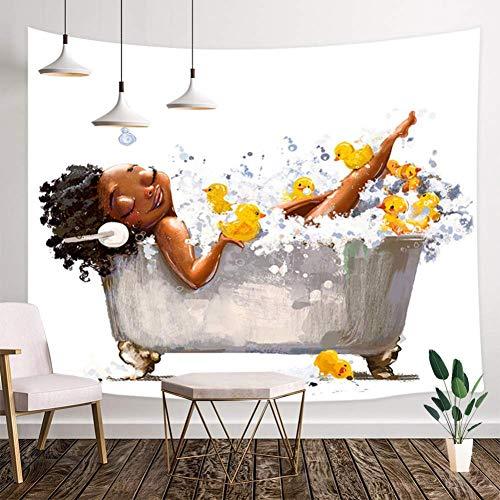 RTEAQ Wandteppich Afro Frau mit Kopfhörern und Entlein Bäder in Badewanne Wandteppich Wandbehang Wandstoff Strandtuch-59x79inch