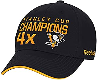 timeless design 7af7d 40f47 Reebok Men s Pittsburgh Penguins Black 4-Time Stanley Cup Champions Flex Hat
