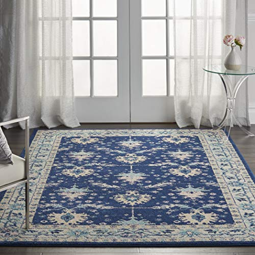Nourison TRA10 Tranquil Oriental Traditional Navy/Ivory Area Rug 6' X 9'