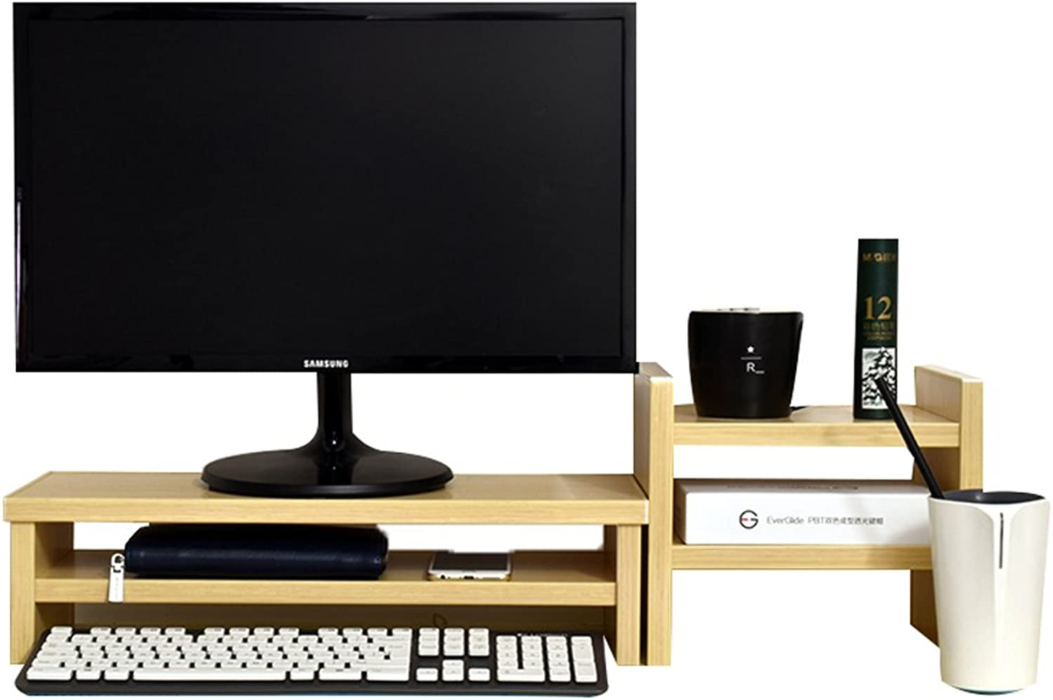 Wooden Panel LCD Computer Monitor to Increase The Base, Office Bedroom Desk Finishing Table (color   Yellow Wood color-4 )