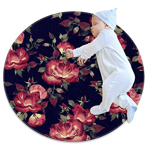 laire Daniel Kinder-Spielteppich, rund, waschbar, große rote Rosen