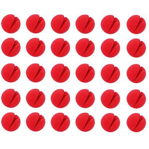 Rlevolexy 30 narices de payaso rojo de espuma nariz de payaso Cosplay rojo nariz de payaso para Halloween Navidad disfraz fiesta