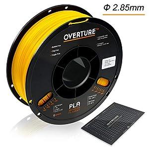 Overture PLA 3D Printer Filament 1-Pack Yellow 2.85 1kg x 1