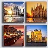Quadri Moderni MILANO Duomo città 4 pezzi 40x40 cm Stampa su Tela CANVAS Arredamento XXL Arredo per soggiorno salotto camera da letto cucina ufficio bar ristorante
