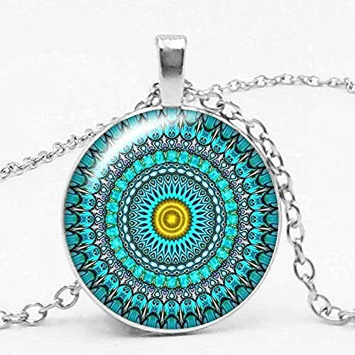 Yiffshunl Necklace Charm Color Ethnic Wind Kaleidoscope Buddhist Yoga Mandala Glass Ball Pendant Necklace Women Round Pendant Pendant Necklace Gift for Women Men Girls Boys