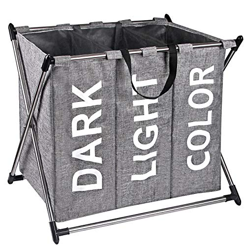 X-cosrack Laundry Hamper Sorter - Stainless Steel X-Frame Basket with 3 Section, Thick Cotton & Linen, Mesh Bundle Pocket with Handles for Home, Collapsible, Grey