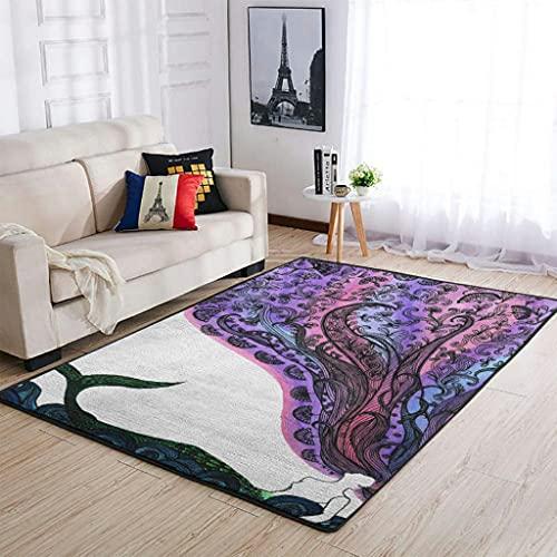 Tobgreatey Area Rugs - Alfombra abstracta de sirenas para interior y suelo duro, color blanco, 122 x 183 cm