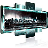 Turquoise New York Starry Night City Canvas Wall Art Abstract Cityscape Painting Modern Print Artwork for Home Office Decoration