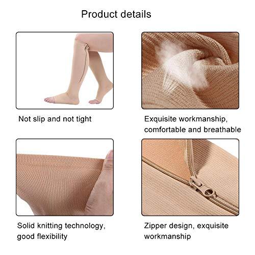 Calcetines de compresión transpirables Calcetines con soporte para las rodillas Ligeros para reducir la hinchazón para uso doméstico para usar en viajes para aumentar la circulación(skin, L/XL)