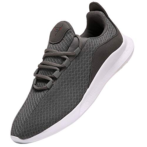 NIUBUFAN Mens Running Gym Shoes, Lightweight Comfortable Walking Best Sport Sneakers for Men Casual Tennis, Breathable Indoor Athletic Workout Slip on Footwear, Tenis de Hombres Gray Grey Size 8