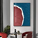 MHFG Blue Sea Red Beach Landscape Posters and Prints Decorative Canvas Painting Wall Art Aesthetic Pictures for Living Room-50X70Cm Frameless