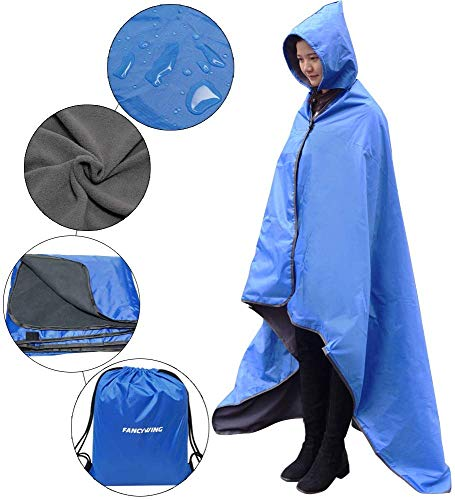 FANCYWING Outdoor Fleece Blanket XL Hooded Stadium Mat - Waterproof/Windproof for Camping, Picnic, Sports, Festival, Football, Baseball, Concerts, Grass, Dog, Beach (79 x 55 inches) Blue