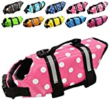 Dog Life Jacket Easy-Fit Adjustable Belt Pet Saver Swimming Safety Swimsuit Preserver with Reflective Stripes for Doggie (S, Speckle and Pink)