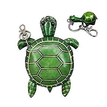 Genuine Leather Zippered Coin Purse Handcrafted Change Pouch Purse Wrist Clutch with Key ring for Women Men Gift a Turtle Keychain  Turtle