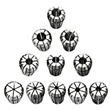Anself 11pcs Precision Spring Collet Set Professional Chuck Collets for CNC Workholding Engraving and Milling Lathe Accessories Tool