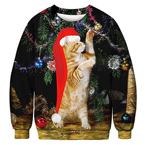 CHIYEEE Unisex Hässliche Weihnachten Sweatshirts Frauen Gedruckt Kreative Rundhals Pullover Herren Langarmshirts L