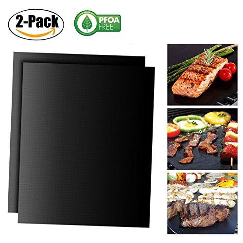 Chickwin grillmat, 2 stks niet-Stick PTFE Oven Liner Kookmatten Perfect voor Bakken op Gas Houtskool Oven en Elektrische Grill Herbruikbaar en Gemakkelijk te reinigen Barbecue Mat 2PC