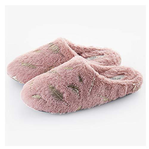 CJshop Zapatillas de Casa Zapatillas de algodón for Mantenerse cálido en otoño e Invierno lujosas Parejas Parejas Inferiores Blusas Pantalones de Peluche Inferiores Hombres Antideslizantes Zapatillas