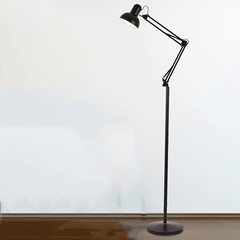 Floor Lamp American Long Arm Iron Scalable Modern Simple Living Room Vertical Table Lamp Bedroom Study Mahjong Fishing Light (Color : Black)