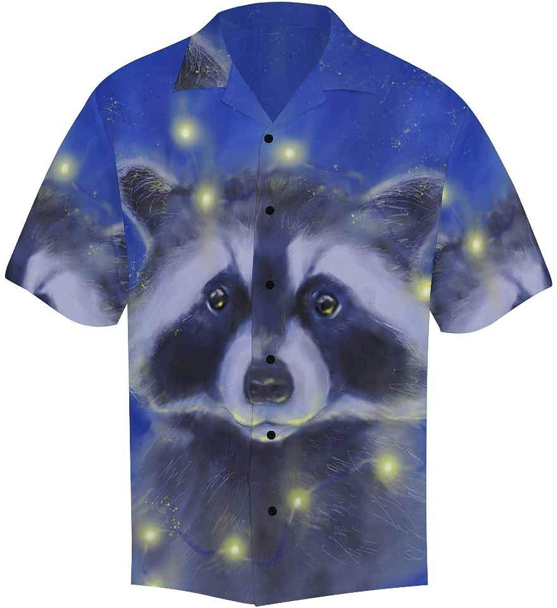 InterestPrint Men's Casual Button Down Short Sleeve Raccoon Blue Hawaiian Shirt (S-5XL)
