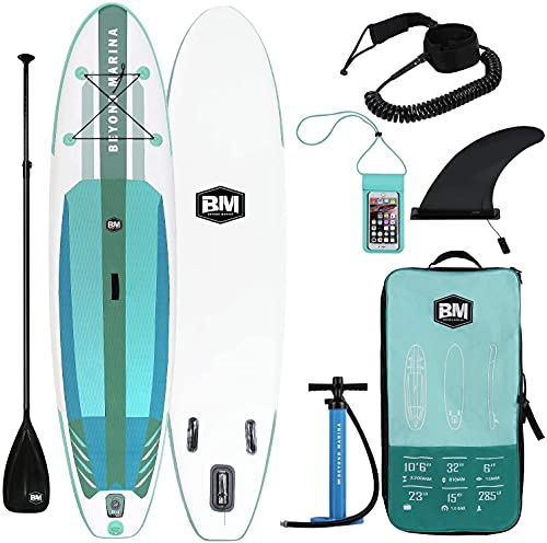 BEYOND MARINA Inflatable Paddle Boards Ultra-Light Stand Up Paddle Board 10'6'' Long 6' Thick Surf...
