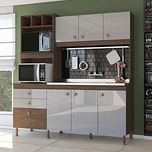 Cozinha Compacta Kit Adry 180cm, Armário e Balcão