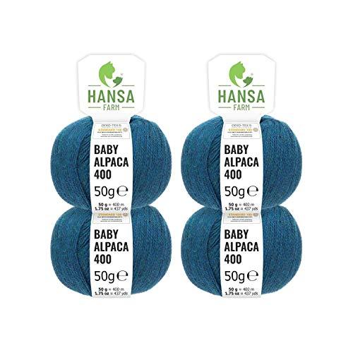 100% Baby Alpakawolle in 50+ Farben (kratzfrei) - 200g Set (4 x 50g) - weiche Alpaka Wolle zum Stricken & Häkeln in 6 Garnstärken by Hansa-Farm - Deep Ocean Heather (Dunkel-Blau)