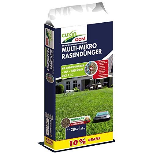 Cuxin DCM Multi-Mikro-Rasendünger, NPK-Dünger 7-4-17, 22 kg für ca. 220 m² (10% Gratis)