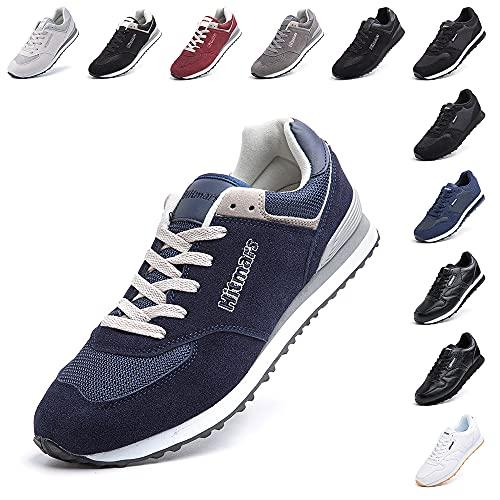 Zapatillas Hombre Mujer Casual Sneaker Gimnasio Cómodos Clásico Zapatos Deportivas Running Azul 1 Talla 43