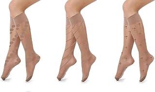 Carina Socks - Set of 3 Voile Socks Jakard - For Women - Beige
