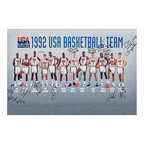 USA Basketball 1992 Dream Team With Sign Poster Art Print Wall Decor 24x32 Inches Photo Paper Material Unframed