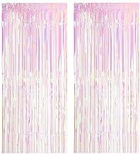CozofLuv 2 Pack 1x3M Metallic Tinsel Foil Fringe Curtains for Party Photo Backdrop Wedding Decor (#7 Transparent)