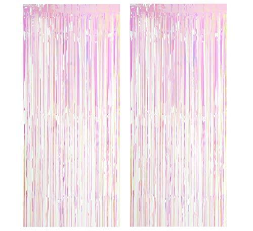 CozofLuv 2 Packung 100*300cm Folie Vorhang Metallic Folie Fransen Vorhänge Tür Fenster Vorhänge für Party and Wedding Dekorationen (Regenbogen)