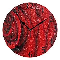 Dozili Red Rose Petals Round Wall Clock Arabic Numerals Design Non Ticking Wall Clock Large for Bedrooms,Living Room,Bathroom
