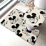 NA Mickey Mouse Bath Mat 3 Piece Set Bathroom Carpet Set Soft Anti-Skid Pads Bath Mat + Contour Pads + Toilet Lid Cover, Absorbent Carpet Bath and Mat Anti-Slip Pads Set