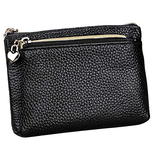 Geldbörse Damen Leder Mini Geldbeutel Portmonee mit Reißverschluss Kartenfächer Brieftasche für Münze Kleingeld Schwarz