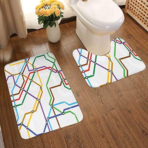 JISMUCI Alfombra de Baño Antideslizante,Mapa de la Ruta del Metro de Rayas Vibrantes,Alfombras de Baño de deInodoro Alfombra de Baño Pedestal Antideslizante