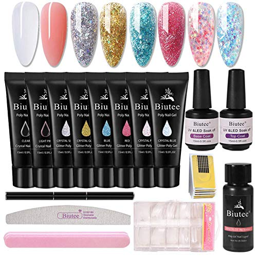 Biute Poly Gel kit Completo Profesional - 15 ml,8 Colores