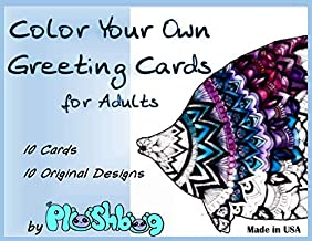 Color Your Own Greeting Cards for Adults - 10 Unique Designs/Cards with Envelopes - All Occasion Blank inside - 4.25 x 5.5 inch
