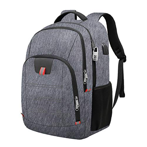 Travel Laptop Backpack,Extra Large Anti Theft College School Backpack for Men and Women with USB Charging Port,Water Resistant Big Business Computer Backpack Bag Fit 17 Inch Laptop and Notebook,Grey