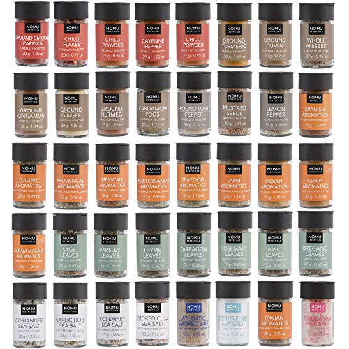 NOMU 40-Piece Complete Variety Set of Spices, Herbs, Seasoning Blends & Finishing Salts Range | 42.7 Oz | Non-irradiated, No MSG or Preservatives