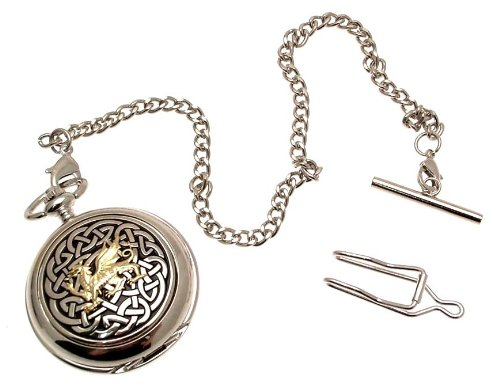 Grabado Incluido–Reloj de bolsillo color sólido peltre Fronted mecánico esqueleto reloj de bolsillo–de dos tonos nudo Celta con diseño de dragón 59