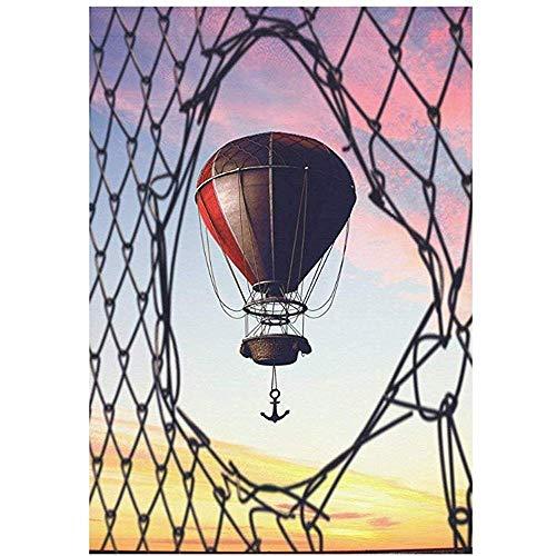 Huis Decoratieve Vlaggen, Home Yard Decor Vlag,Seizoensgebonden Tuin Vlag Banner, Hot Air Balloon Aerostat,Zonsondergang Voetbal Net Outdoor Vlaggen Voor Feest, Verjaardag, Bruiloft