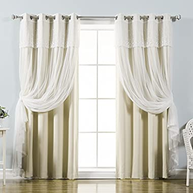 Best Home Fashion Mix & Match Tulle Sheer with Attached Valance & Solid Blackout Curtain Set, Stainless Steel Nickel Grommet Top, Beige, 52 W x 84 L, (2 Curtains and 2 Sheer curtains)