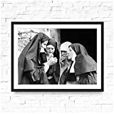 ASLKUYT Smoking Nuns Prints Vintage Photo Black and White Poster Cigarette Funny Wall Art Canvas Painting Picture Weird Room Home Decor-50x70cm No Frame