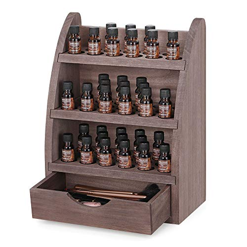 Essential Oils Organizer Storage Rack Dark Brown Wooden 45 Slots Nail Polish Display Shelf Holder Fits 5/10/15/20/30ml Bottles, Tubes, Accessories and More EO Products Espresso