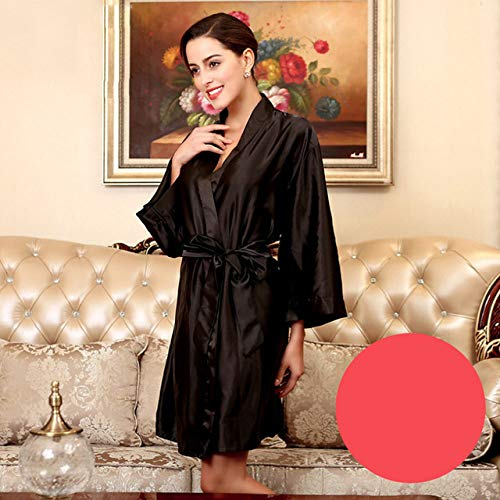 YRTHOR Albornoz Kimono de satén de Seda para Mujer, Bata de baño sólida de Dama de Honor hasta la Rodilla, Bata de Novia de Talla Grande para Ropa de Dormir de Boda,Black,XXL
