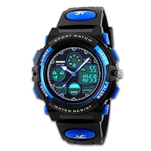Yafang Orologio sportivo digitale da uomo, stile esercito, nero, doppio fuso orario, display LED retroilluminato, segnalazione acustica ogni ora,