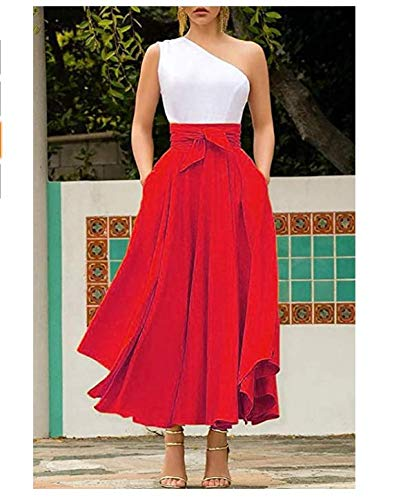 Geagodelia Falda Larga de Mujer de Cintura Alta Falda Acampanada Plisada Elegante con Lazo Dos Bolsillos Irregular Vintage Retro Casual (Rojo, S)