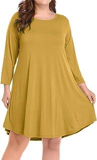 BELAROI Womens Casual Flare Plain Simple 3/4 Sleeve T-Shirt Loose Dress